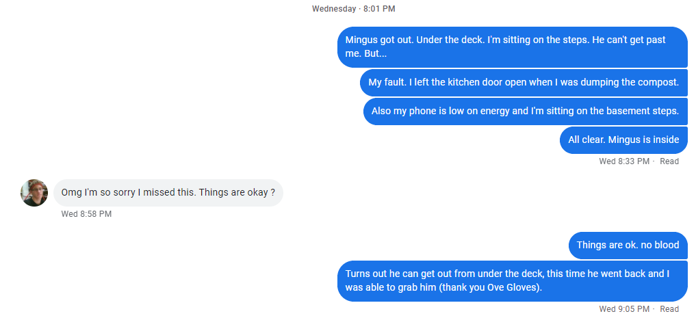 Screenshot of a text message. Dona( 8 pm through 8:33 pm): Mingus got out. Under the deck. I'm sitting on the steps. He can't get past me. But... My fault. I left the kitchen door open when I was dumping the compost. Also my phone is low on energy and I'm sitting on the basement steps. All clear. Mingus is inside Andrew (an hour later): Omg I'm so sorry I missed this. Things are okay ? Dona: Things are ok. no blood Turns out he can get out from under the deck, this time he went back and I was able to grab him (thank you Ove Gloves).