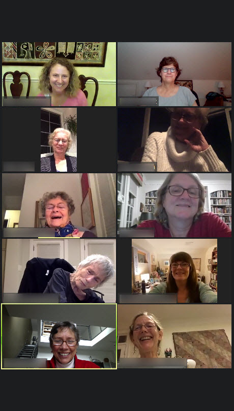 Screenshot of Zoom participants laughing